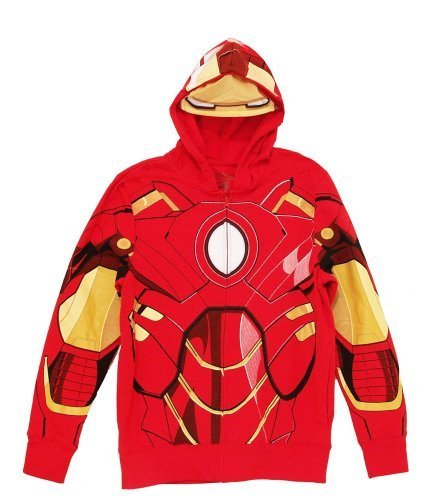Iron Man Red Costume Zip-Up Men's Hooded Sweathshirt Hoodie (Adult Large)