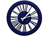 BLUE'n'BLACK WOOD WORK WALL CLOCK - Designer handmade wall clock made of ECO material - unique combination of modern and vintage