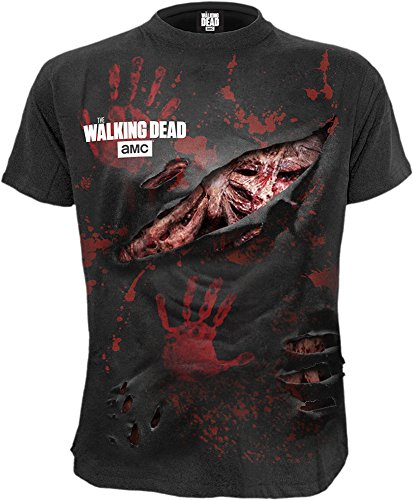 Spiral Mens - Zombie - All Infected - Walking Dead Ripped T-Shirt Plus Size - 4XL (T-shirt Size Plus Walking)