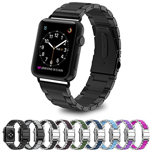 Greeninsync Apple Watch Bands 42mm Metal, Special Edition Stainless Steel Wristbands Buckle Clasp Watch Strap Replacement Bracelet W/ Silicone Cover Black for Apple Watch Series 3/2/1