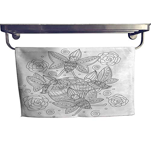 homecoco Beach Towels Hand Drawn Happy Butterfly Playing Ball for Adult Coloring Page Towel W 12