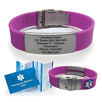 Silicone Sport Medical Alert ID Bracelet by Universal Medical Data