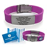 Silicone Sport Medical Alert ID Bracelet - Purple
