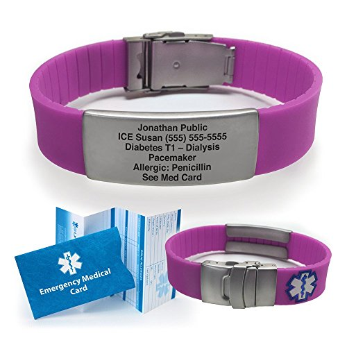 Silicone Sport Medical Alert ID Bracelet - Purple (Incl. 5 Lines of Custom Engraving). Choose Your Color! - - Medical Alert Bracelets Necklaces
