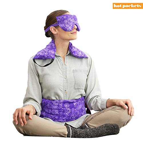 Hot Pockets- Natural Therapy Set of 1) Neck & Shoulders 2) Lumbar/Back/Abdomen 3) Lavender Eye/Sleep Mask - Microwave Heat Pack & Cold Pack Set - Stiff Muscles - Hot & Cold Therapy (Purple Flowers)