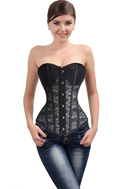 b5eedf9c06 SAYFUT Womens Lace Up Boned Sexy Plus Size Overbust Corset Bustier Mesh  Body Shaper Underwire Jacquard Bustier Top with G-String  Amazon.in   Clothing   ...