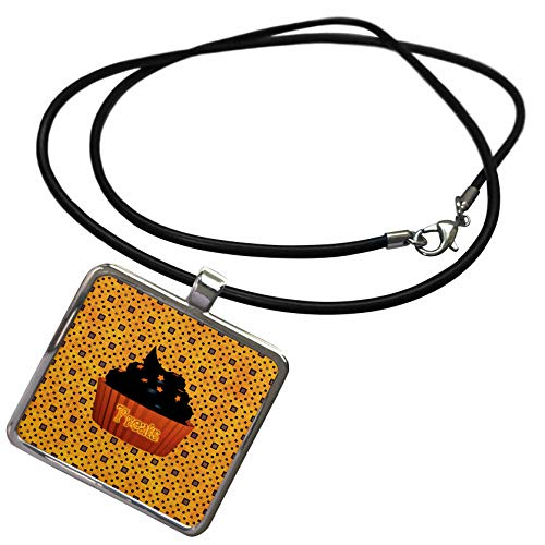 3dRose Beverly Turner Halloween Design - Cupcake with Chocolate Icing and Orange Stars, Treats on Cupcake - Necklace With Rectangle Pendant (ncl_287057_1) -