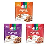 Jif Poppers Peanut Butter-Coated Popcorn Variety Pack: Popcorn and Chocolate Flavored Covered Pretzels, 6 oz. Popcorn and Dried Strawberries, 6 oz, Creamy Peanut Butter and Pretzels, 6 oz