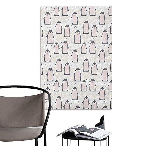 (Wall Sticker self-Adhesive Penguin Doodle Style Cartoon Animals from Antarctica with Crowns on a Dotted Background Multicolor 3D Decorative Sticker W20 x)