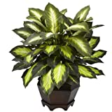 countertop topiary - Nearly Natural 6720 Triple Golden Dieffenbachia Plant with Wood Vase, Green