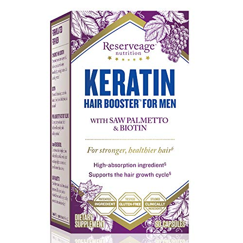 Reserveage - Keratin Hair Booster for Men, Helps Block DHT to Reduce Baldness by Supporting Hair Growth with Saw Palmetto, Biotin, and Beta Sitosterol, Gluten Free, 60 Capsules