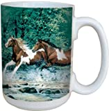 Tree-Free Greetings 79009 Spring Creek Run Collectible Art Ceramic Mug with Full Sized Handle, 15-Ounce, Multicolored