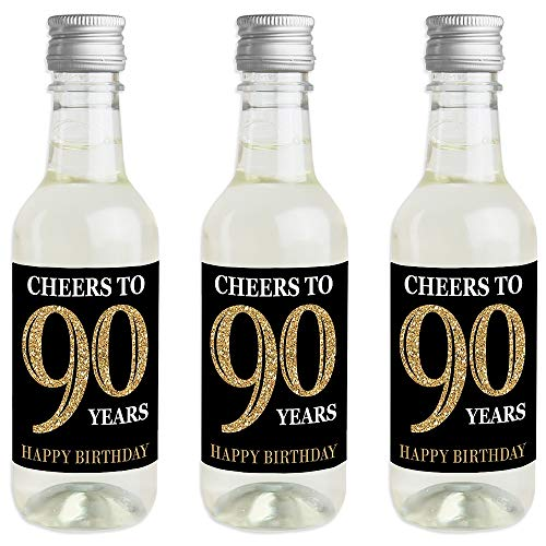 Adult 90th Birthday - Gold - Mini Wine and Champagne Bottle Label Stickers - Birthday Party Favor Gift for Women and Men - Set of - Label Champagne Black