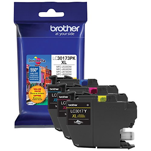 (Brother Printer LC30173PK High Yield XL 3 Pack Ink Cartridges- 1 Ea: Cyan/Magenta/Yellow Ink)