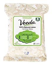 Veeda 100% Natural Cotton PH Balanced Hypoallergenic Feminine Wet Wipes, Safe Cleansing Cloths for Sensitive Skin, Unscented, 6 Packs of 20 Count Each