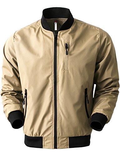 005763d0be6 Hat and Beyond Tech Mens Bomber Jacket Waterproof Windbreaker Slim Fit  Lightweight Hip Hop Casual Front