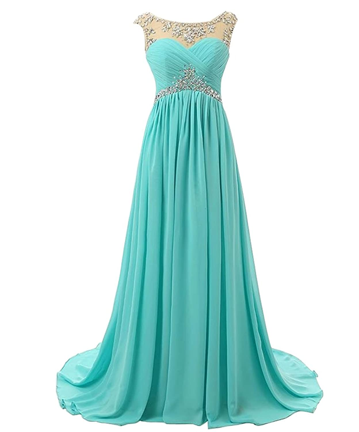 Amazon.com: Anlin Long Strapless Ruched Chiffon Prom Evening Dresses ...