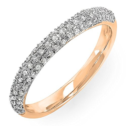 0.25 Carat (ctw) 10k Rose Gold Round Diamond Ladies Pave Anniversary Wedding Band Stackable Ring 1/4 CT (Size (0.25 Ct Round Rose)