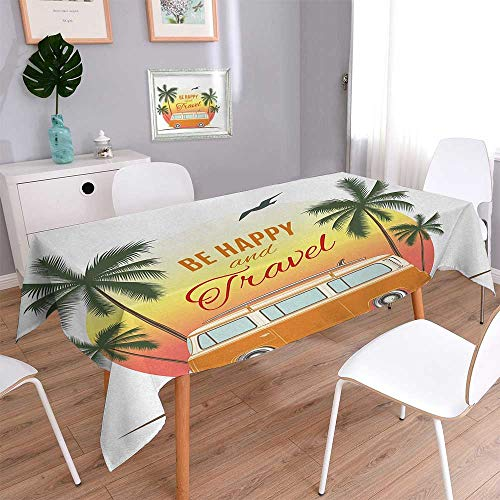 Wen Zhouqw Surf Flannel Tablecloth Retro Surf Van with Palms Camping Relax Hippie Travel Be Happy Free 60s Theme Printed Tablecloth 54