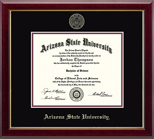"Church Hill Classics Arizona State University Gold Embossed Diploma Frame – Solid Hardwood ""Gallery"" Moulding, Officially Licensed – 8.5"