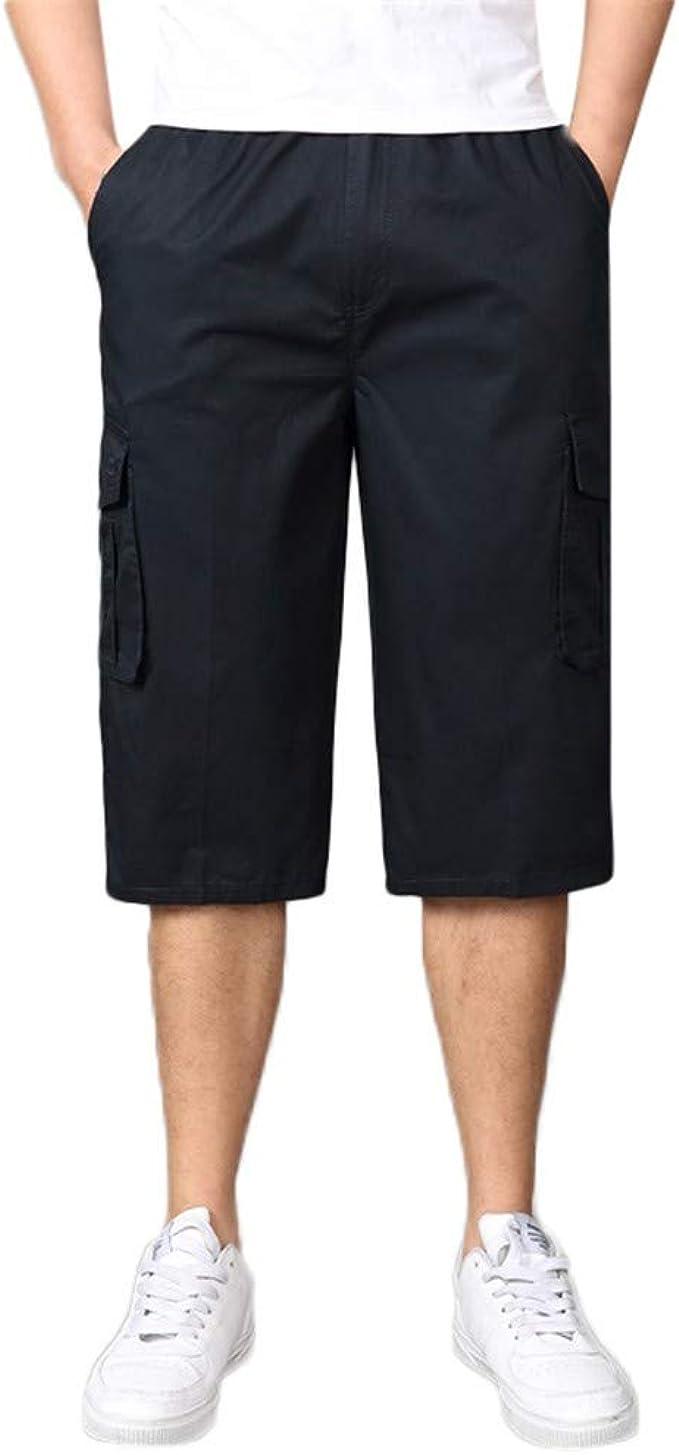 MODOQO Men Tooling Shorts,Summer Fashion Facilitate Pure Color Button-Pocket Shorts