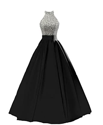 8849f23a4b HEIMO Women s Sequined Keyhole Back Evening Party Gowns Beaded Formal Prom  Dresses Long H123 0 Black