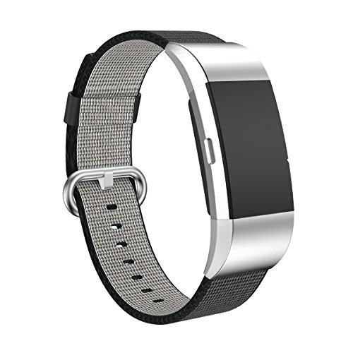 (Aiiko for Fitbit Charge 2 Bands Nylon Watch Band Replacement Fitness Strap for Men Women, Excerise Bands with Classic Metal Clasp and Connector for Fitbit Charge2 Smart Watch, Black )