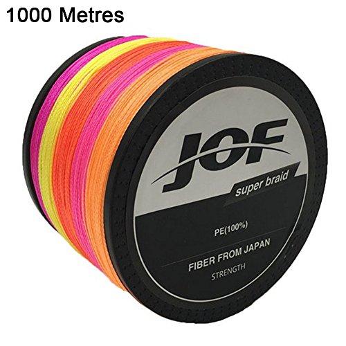 JOF 100~1000 Meters Multi 4 Strands Multifilament PE Braided Wire Fishing Lines 100lb (1000 Meters, 8.0#(DIA:0.50mm))
