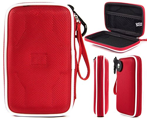 Fiesta Red EVA On-The-Go Storage Zip Case for Fitness Tracker Wristband Like Fitbit Alta HR, Flex, Charge, Charge 2, Charge HR, Blaze, Surge