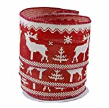Cross Stitch Red Reindeer Linen Wired Ribbon #40-2.5in x 10 yards