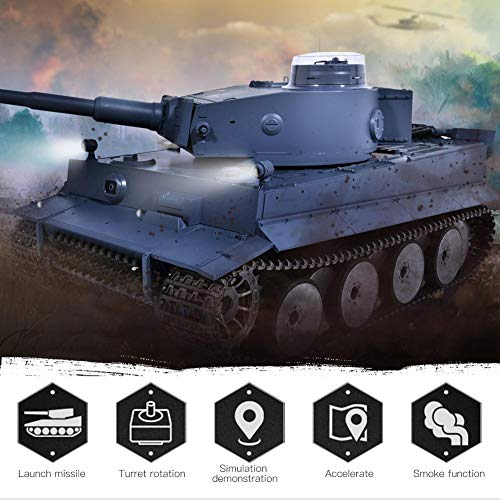 Focket Remote Control Tank, 2.4G 1/16 Scale 360 Degrees All-Round Walking Metal Battle Tank RC Tank Model Toy with Light, Sound, Simulated Smoking Device and Motion Effect for Kids Boys Girls Gifts