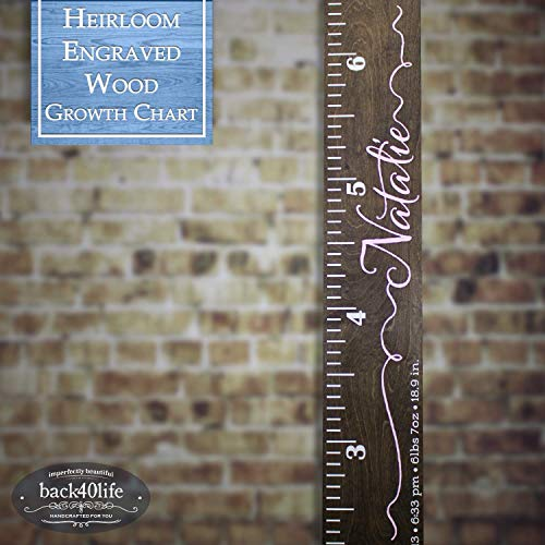 Back40Life | Heirloom Engraved Series - (The Natalie) wooden growth chart height ruler