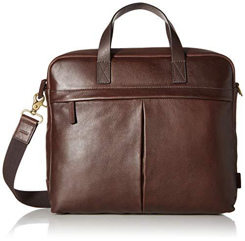 Fossil Men's Buckner Leather Brief Workbag Laptop Messenger Bag, Dark Brown, One Size