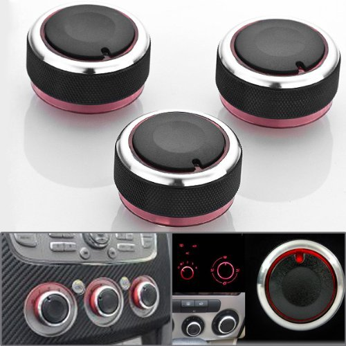 3x Anodized Surrounding Chrome Billet Aluminum Red Direct Replacement Car Air Conditioner A/C Control Knobs Heater Radio Volume Video Switch Customize Decor For M3 ASUMAN BEAU