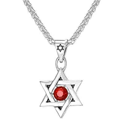 Amazon u7 religious jewelry red ruby stone star of david u7 religious jewelry red ruby stone star of david necklace 18k gold plated men pendant aloadofball Images