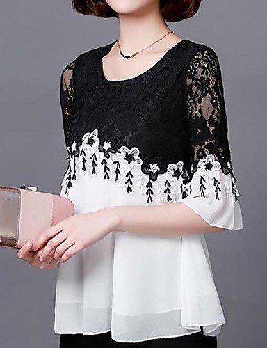 Yfltz De White Liso Blusa Para Mujer Encaje Básica Color Calle rxrEqTaS