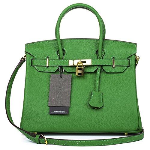 Qzunique Womens Cowhide Genuine Leather Fashion Zipper Buckle Belt Metalic Top Handle Bag Wine Green 35Cm