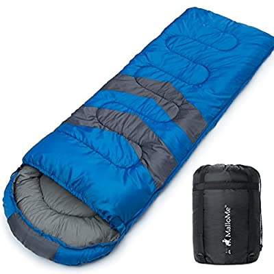 MalloMe Camping Sleeping Bag - 3 Season Warm & Cool Weather - Summer, Spring, Fall, Lightweight, Waterproof for Adults & Kids - Camping Gear Equipment, Traveling, and Outdoors - 2 Free Pillows!