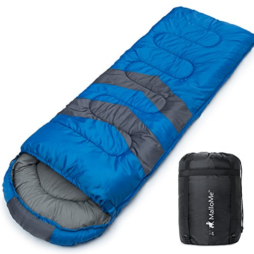 MalloMe Camping Sleeping Bag – 3 Season Warm Cool Weather – Summer, Spring, Fall, Lightweight, Waterproof for Adults Kids – Camping Gear Equipment, Traveling, and Outdoors