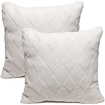 white throw pillow. chanasya super soft elegant faux fur diamond shape embossed cozy decorative white throw pillow cover