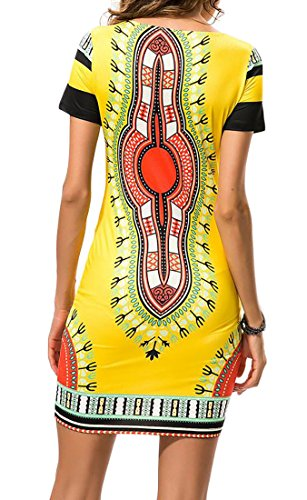 Cromoncent Femmes Col Rond Afrique Dashiki Impression Mince Robe Club Élégant Jaune