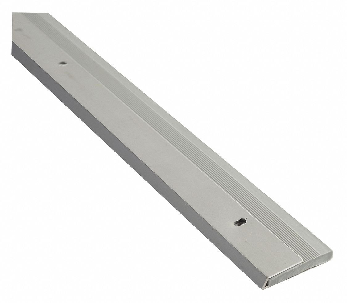 Single Fin Door Sweep, Anodized Aluminum, 4 ft. Length, 1-1/8'' Flange Height, 3/4'' Insert Size