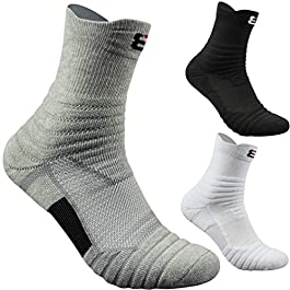 Men's Athletic Cushion Quarter Ankle Sock Performance Cotton Compression Sport Basketball Arch Support Socks