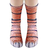 3D HD Print Funny Socks, YAMATE Sublimated Elastic Realistic Animal Paw Crew Socks for Unisex Kids Boys Girls (Tiger)