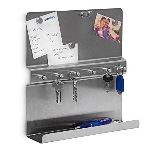 Relaxdays Schlüsselbrett 6 Haken H x B T: 30 x 30 x 7 cm Schlüsselboard Magnetwand und Ablage Schlüsselleiste aus Edelstahl mit Schlüsselhalter samt Memoboard inklusive Magneten, silber