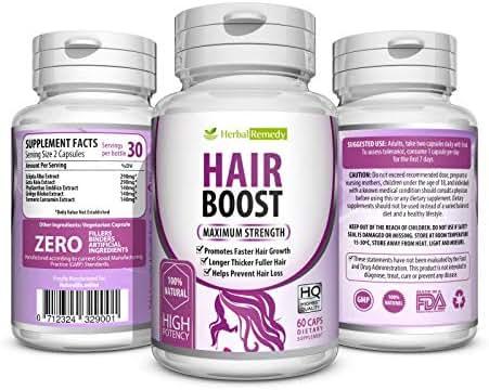 Natural Boost Hair Growth Vitamins - Healthier, Thicker & Longer Hair Regrowth – Organic Damaged Hair Treatment Supplements Formulated With Green Tea, Gotu Kola & More - All Hair Types 60 Veggie Caps