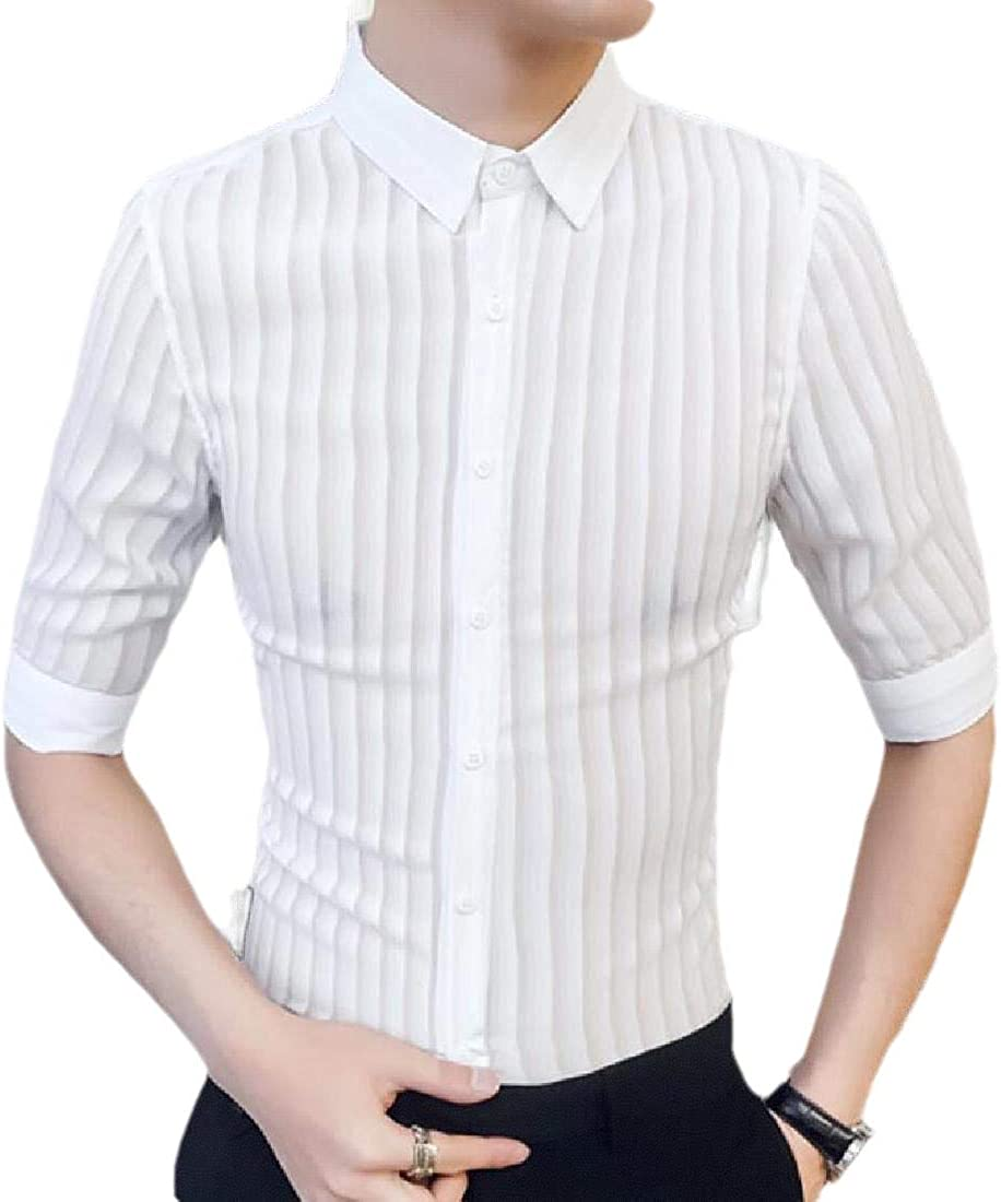 hower Men Mesh See Through Stripe Clubwear Shirts 3//4 Sleeve Lace Undershirts