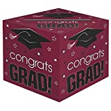 School Colors Graduation Party ''Congrats Grad!'' Card Box Holder, Berry, Black and White, Paper, 12'' x 12'' x 12''