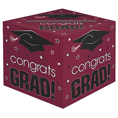 Amscan School Colors Graduation Party Congrats Grad! Card Box Holder, Berry, Black and White, Paper, 12