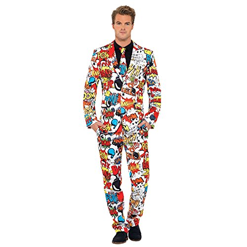 MCS Men's Comic Strip Suit Large Multicolor]()